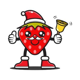 Nette karikaturerdbeere, die weihnachten feiert