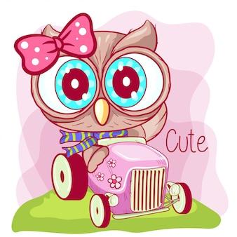 Nette karikatureule geht auf ein rosa auto