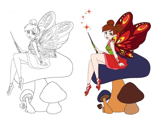 Nette karikaturfee mit schmetterlingsflügeln, die auf pilz sitzen. hand gezeichnete vektorillustration.