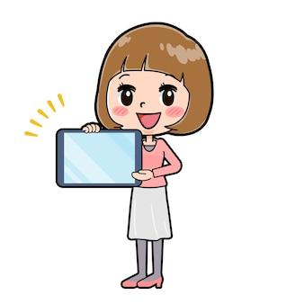 Nette karikaturfigur der jungen frau mit einer geste der tablettenpräsentation.