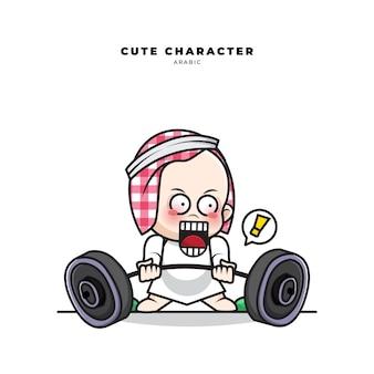 Nette karikaturfigur des arabischen babys, das hanteln hebt