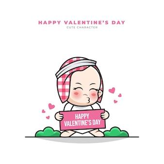 Nette karikaturfigur des arabischen babys, die glückliche valentinsgrüße hält