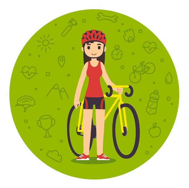 Nette karikaturfrau in der fitnessausrüstung mit fahrrad