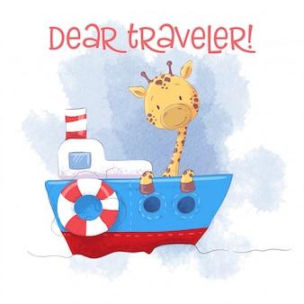 Nette karikaturgiraffe auf einem schiffsdampfer.