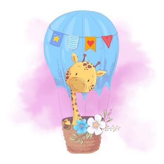 Nette karikaturgiraffe in einem ballon mit blumen. vektor-illustration