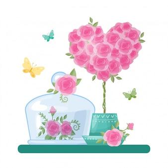 Nette karikaturglasgefäße und -kappen mit herzen und rosen für valentinstag.