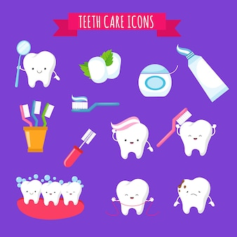 Nette karikaturikonen des zahnbürstens und der zahnmedizinischen pflege für kinder. lustige zähne mit zahnbürste und zahnpasta