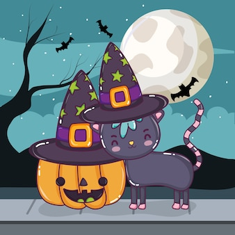 Nette karikaturkarikaturen halloweens