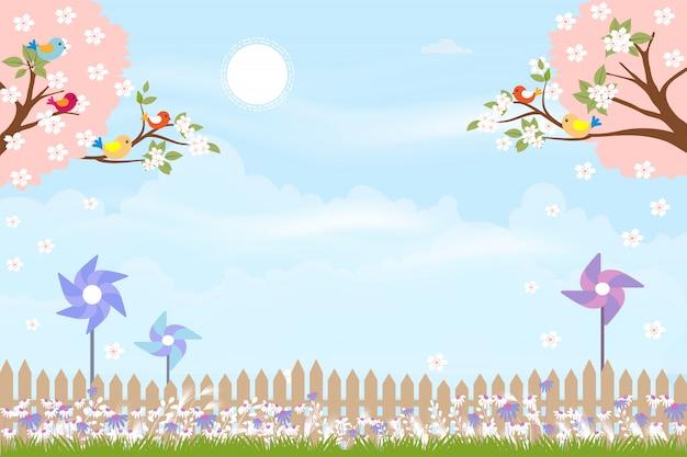 Nette karikaturkarte für frühlingsjahreszeit mit miniwindmühle hinter bretterzaun