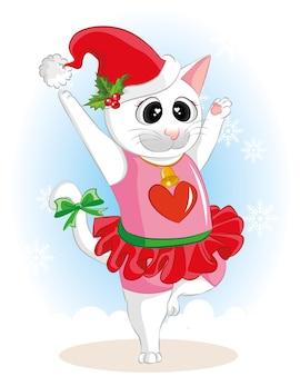 Nette karikaturkatze, die am weihnachtstag tanzt. flache katze der netten vektorkarikatur.