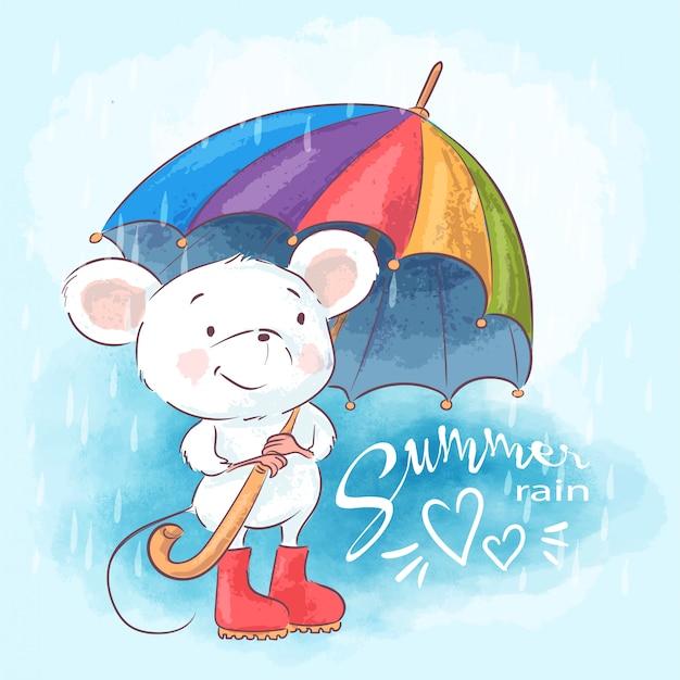 Nette karikaturmaus der illustration mit regenschirm