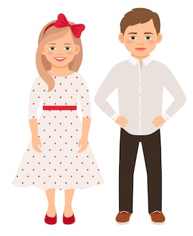 Nette karikaturmode scherzt die lokalisierten paare. hübscher junge und mädchen mit lächeln vector illustration