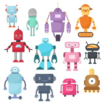 Nette karikaturroboter, android und raumfahrer cyborg lokalisierten vektorsatz