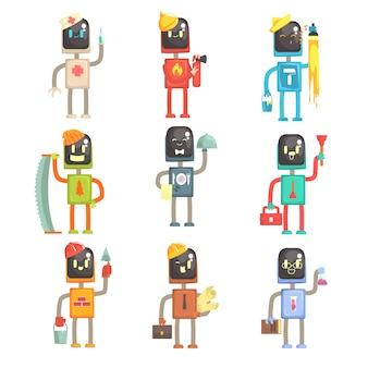 Nette karikaturroboter in verschiedenen berufen setzen bunte zeichenillustrationen