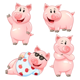 Nette karikaturschweinfiguren in verschiedenen posen. illustrationssatz.