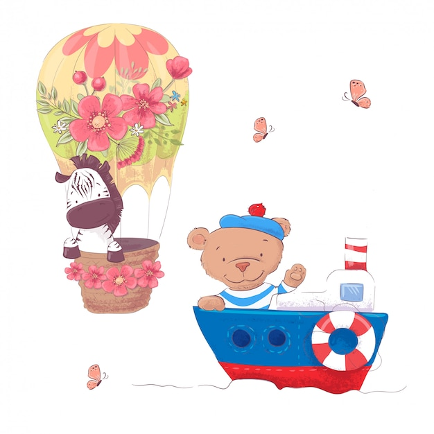 Nette karikaturtiere transportieren fahrzeugschiff und -ballon