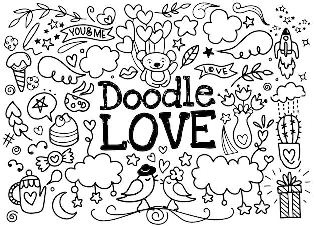 Nette karikaturvektor hand gezeichnete gekritzel-liebesillustration