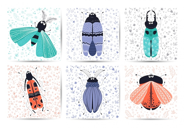 Nette karikaturwanzen, käfer, vektorkarten
