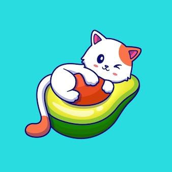 Nette katze auf avocado-frucht-karikatur-illustration. tierfutterkonzept isoliert. flacher cartoon-stil
