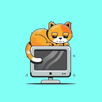 Nette katze auf computer-cartoon-figur. tiertechnologie isoliert.