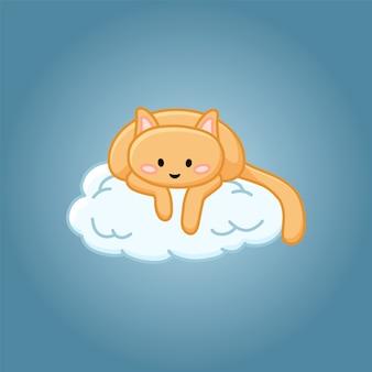 Nette katze auf einem wolkenkarikaturbild
