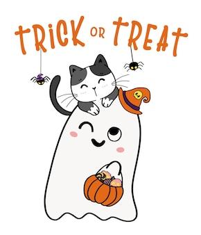 Nette katze auf entzückenden geist süßes oder saures halloween-korbkarikatur-flache vektorillustration