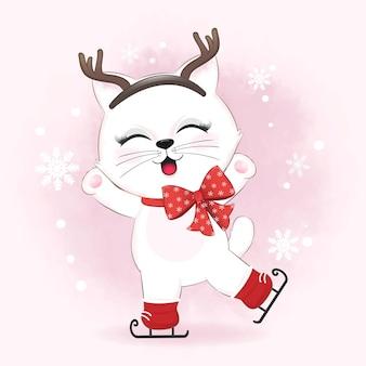 Nette katze auf winterhintergrundwinter und weihnachtsillustration.