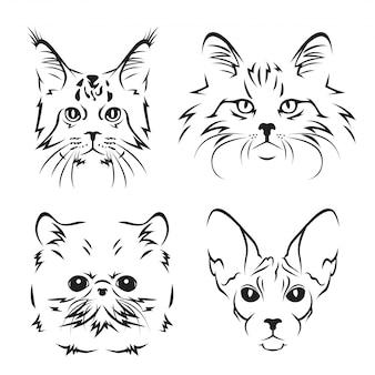 Nette katze breed line art logo set