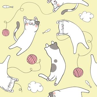 Nette Katze des nahtlosen Musterhintergrundes auf gelbem Pastell
