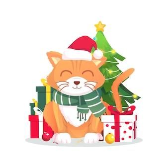 Nette katze des weihnachtsfestes mit geschenkvektorillustration