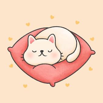 Nette katze, die auf einer rosa gezeichneten art der kissenkarikatur hand schläft
