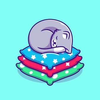 Nette katze, die auf kissen cartoon schläft. flacher cartoon-stil