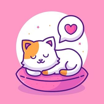 Nette katze, die auf kissen schläft und tierhaustier-logo-vektorikonen-illustration im flachen stil träumt