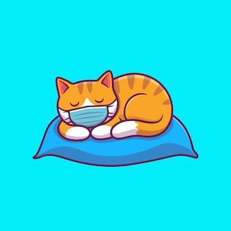 Nette katze, die auf kissenillustration schläft. katzenmaskottchen-zeichentrickfigur. tier isoliert