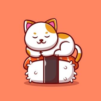 Nette katze, die auf lachssushi-karikaturillustration schläft. tierfutter-konzept isoliert. flacher cartoon-stil