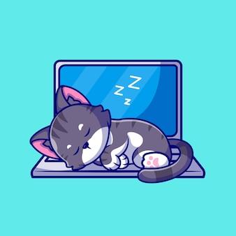 Nette katze, die auf laptop-karikatur-symbol-illustration schläft.