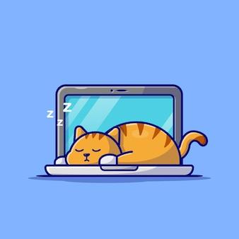Nette katze, die auf laptop mit kaffeetasse-cartoon-charakter schläft. tiertechnologie isoliert.