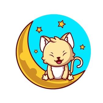 Nette katze, die auf mond mit sternen-karikatur-symbol-illustration sitzt. tier-natur-symbol-konzept isoliert. flacher cartoon-stil