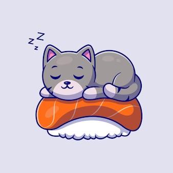 Nette katze, die auf sushi-lachs-karikaturillustration schläft