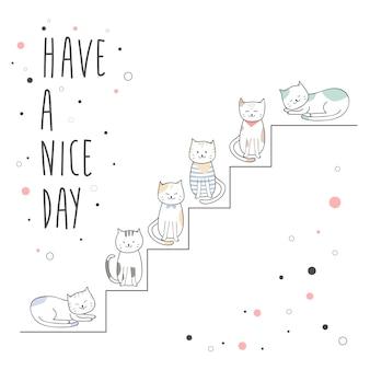 Nette katze, die auf treppenkarikaturgekritzelhintergrund sitzt
