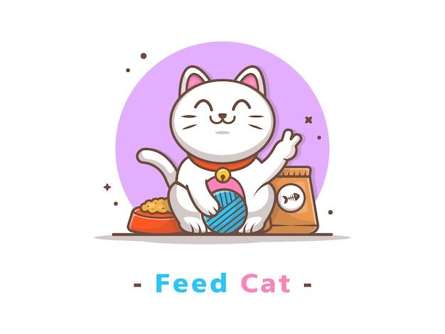 Nette katze, die ball mit cat food spielt