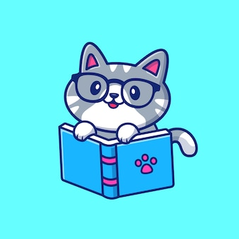Nette katze, die buch-cartoon-symbolillustration liest. tierbildungs-symbol-konzept isoliert. flacher cartoon-stil