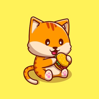 Nette katze, die burger cartoon icon illustration isst. tierfutter-symbol-konzept isoliert. flacher cartoon-stil