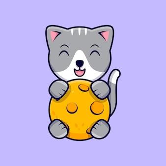 Nette katze, die den mond cartoon icon illustration umarmt. flacher cartoon-stil