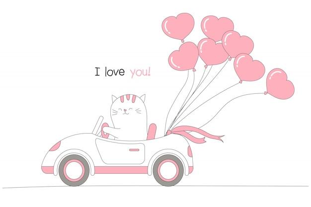 Nette katze, die ein auto mit herzformballonen fährt.