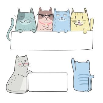 Nette Katze, die ein leeres Zeichen hält