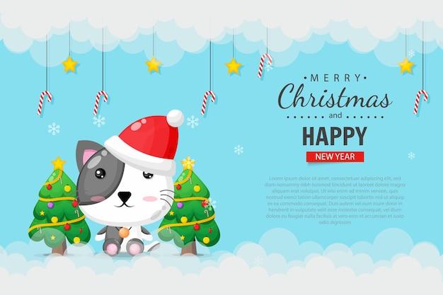 Nette katze, die eine weihnachtsmütze trägt. frohe weihnachten banner design-vorlage