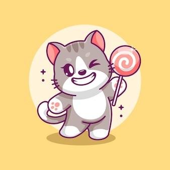 Nette katze, die einen lutscher-cartoon hält holding