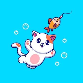 Nette katze, die fisch-illustration fängt