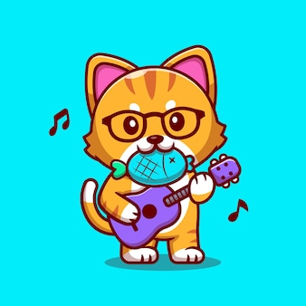 Nette katze, die gitarre mit fisch-karikatur spielt. flacher cartoon-stil